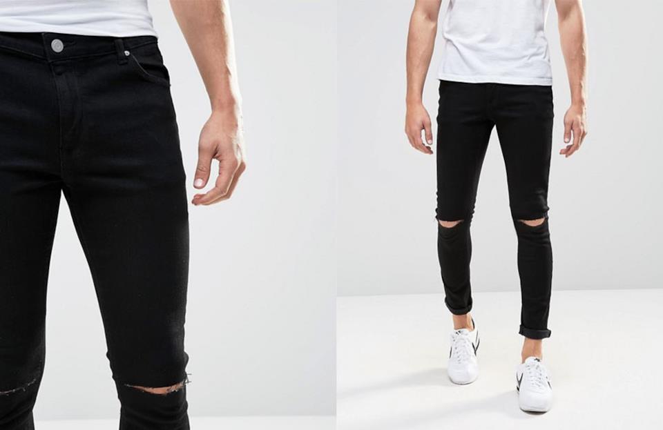 Jeans uomo neri e strappati superskinny