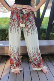 Pantaloni da donna artigianali a fiori, modello a palazzo