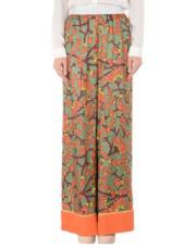 Pantaloni a palazzo con fiori arancioni e dettagli in raso