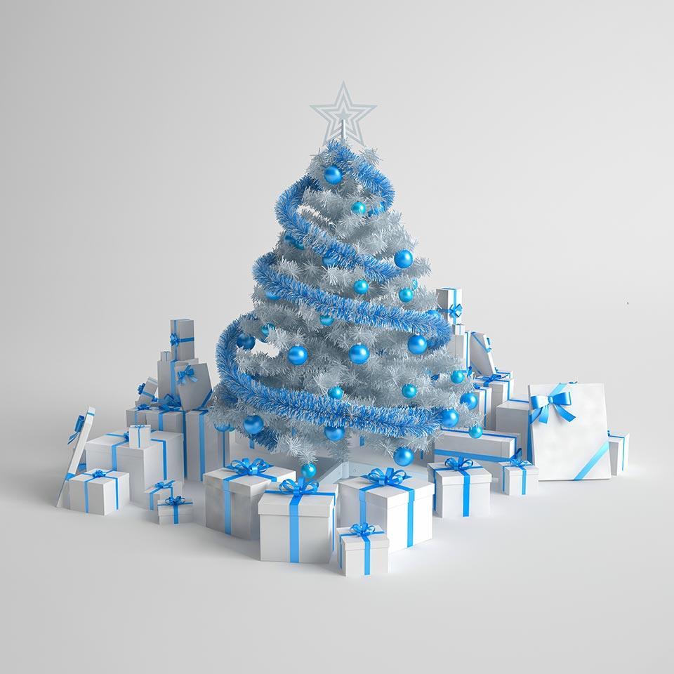Albero di Natale artificiale bianco con decori blu