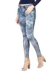 Jeggings delavé con paillettes