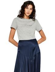 T-Shirt grigia in cotone con slogan
