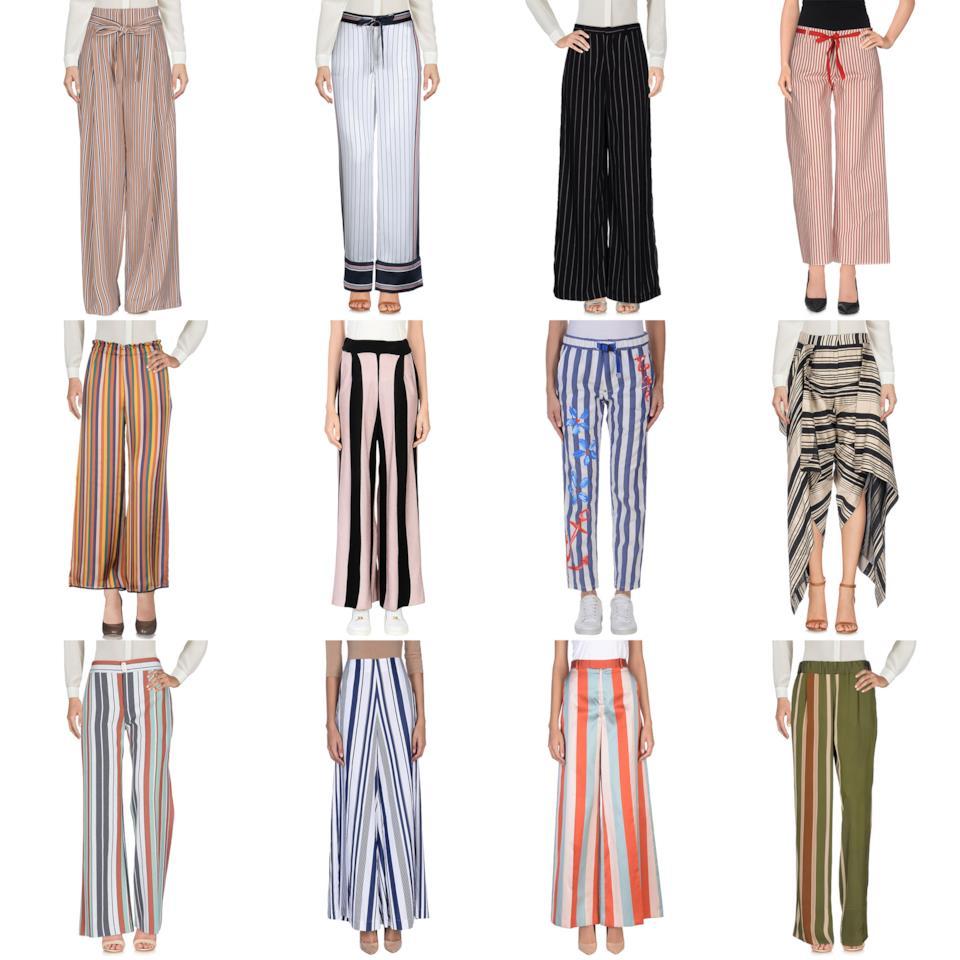 La selezione dei pantaloni a palazzo con fantasia a righe sullo store di Yoox