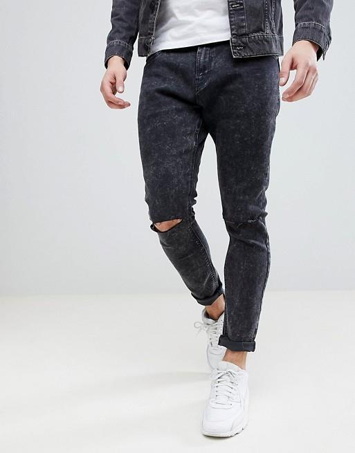 Jeans neri con strappi da uomo Bershka