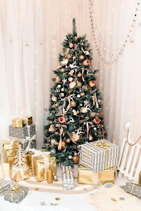 Albero di Natale slim rosa, oro e bianco