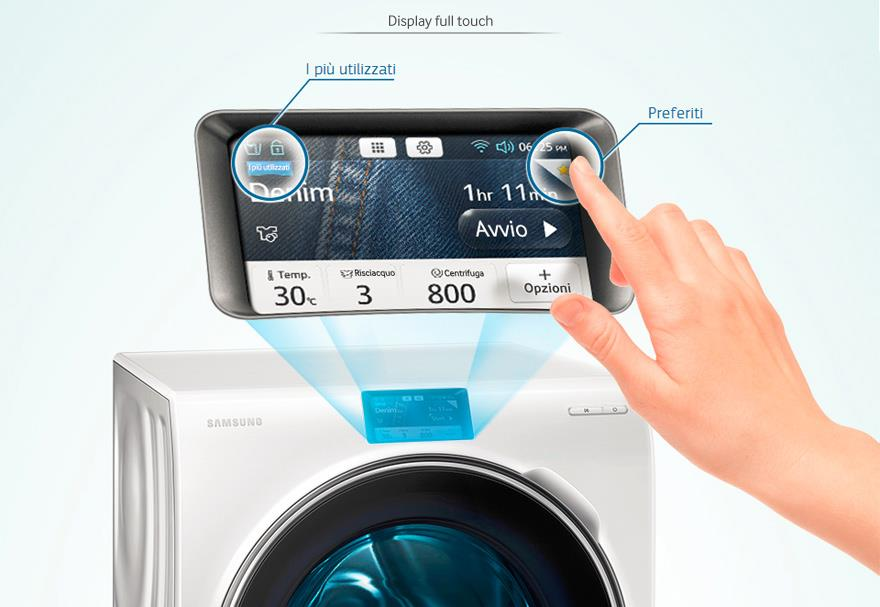 Display Touch Screen della lavatrice Samsung Crystal Blue da 10 kg