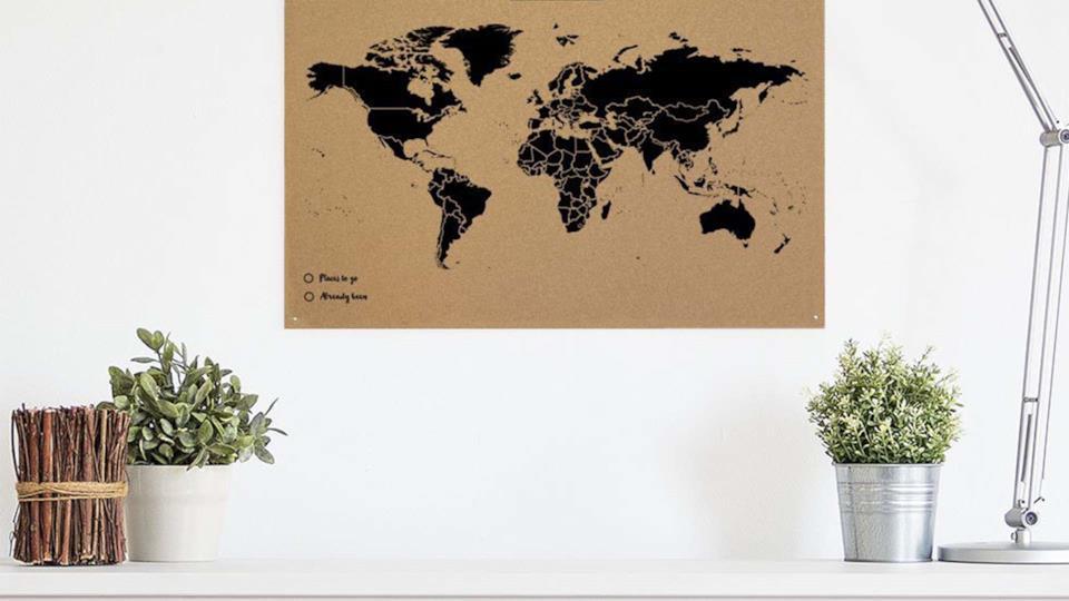 I migliori regali fotografici: cartina del mondo in sughero