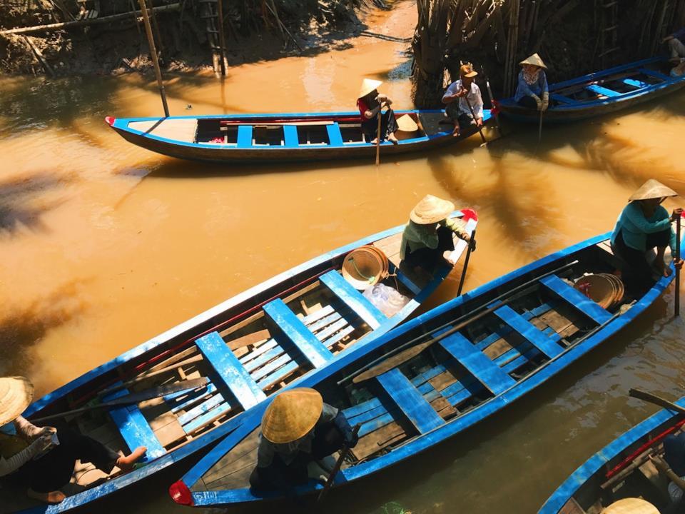 Barche sul Mekong in Vietnam