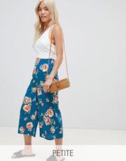 Pantaloni palazzo corti con stampa a fiori