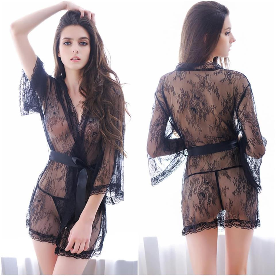 Babydoll in pizzo trasparente