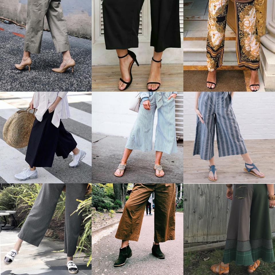Le scarpe da abbinare ai pantaloni a palazzo corti