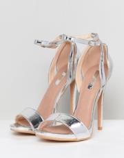 Sandali con tacco alto argento metallico