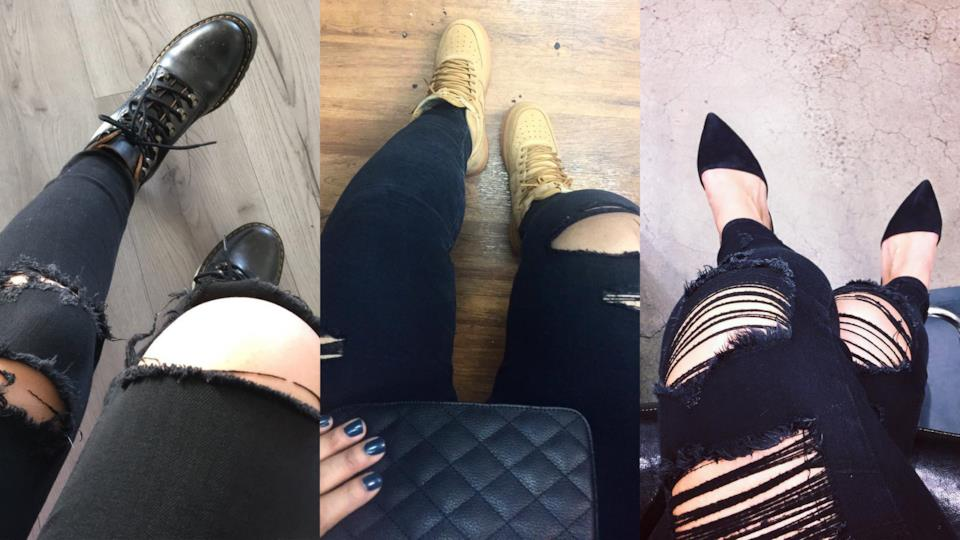 Con che scarpe abbinare i jeans neri strappati