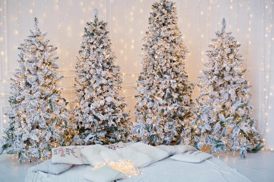 Alberi di Natale innevati in casa