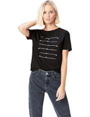 T- Shirt con perle e stampa
