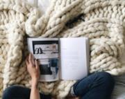 Coperta lana merino trama maxi