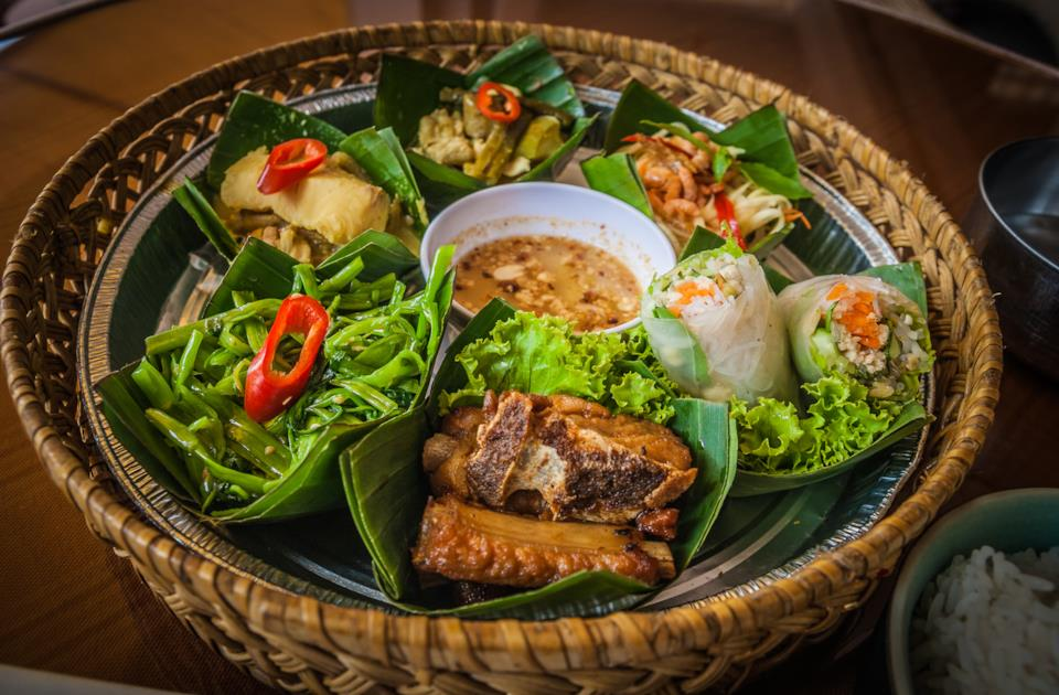Cambodian cuisine with fish dishes