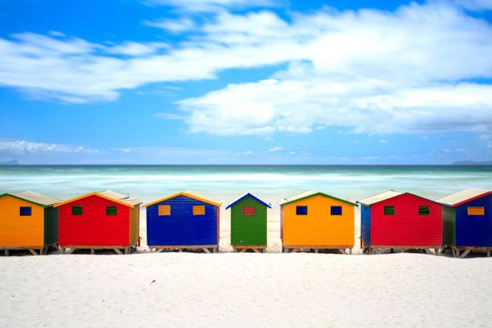 Cape Town colorful beach huts, South Africa