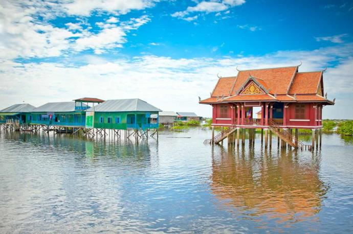 A primary school, one of Tonle Sap's floating houses