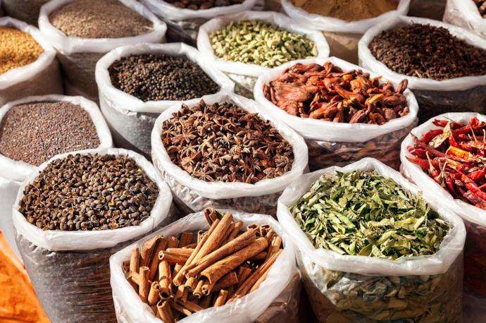 Spices at a market in Goa