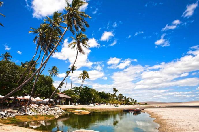 Fishermen village in Jericoacoarà beach in Brazil