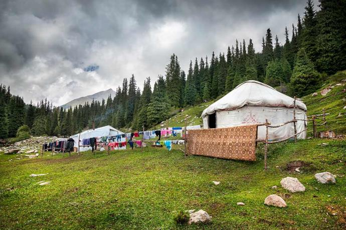 A nomadic settlement and yurtas in Kyrgyzstan