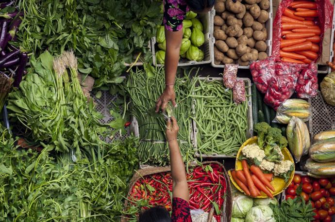 Vegetable market in Ubud, Bali, Indonesia