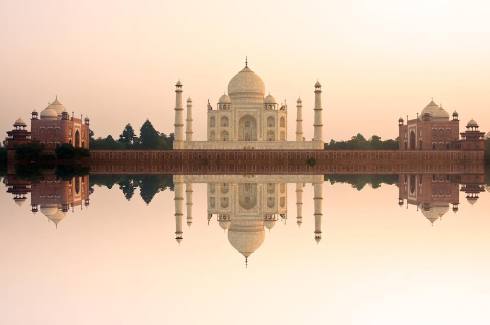 Taj Mahal reflecting on water, Agra