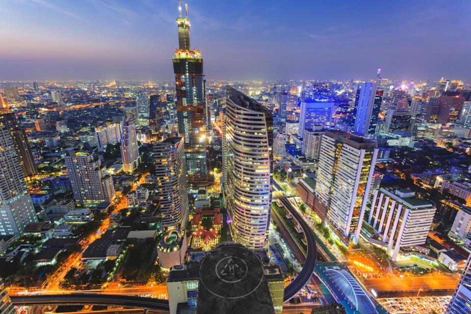 Bangkok skyline at night in Thailand