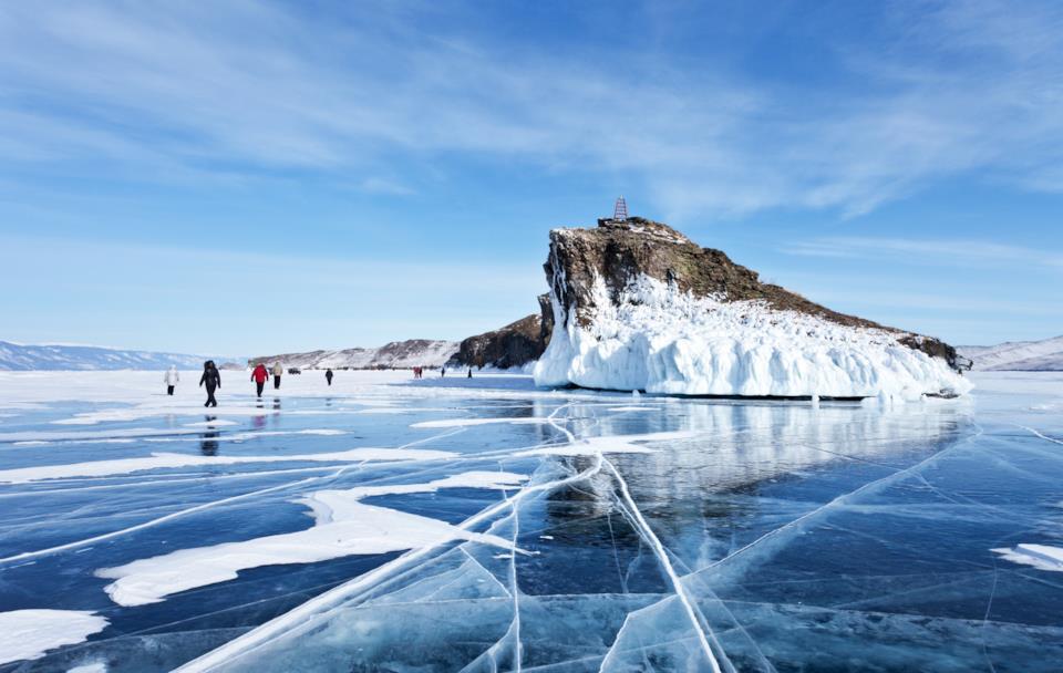 Frozen lake Bajkal in Russia