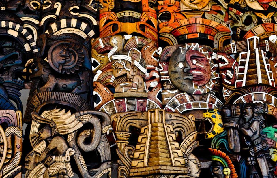 Wooden masks sold in Mexico