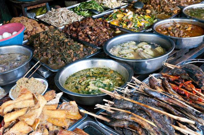 Typical cambodian food in a market