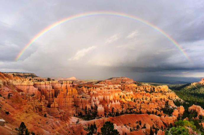 Rainbow and hoodos at Bryce Canyon National Park Usa