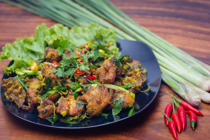 Saich Moan Char Trop, a cambodian dish with chicken