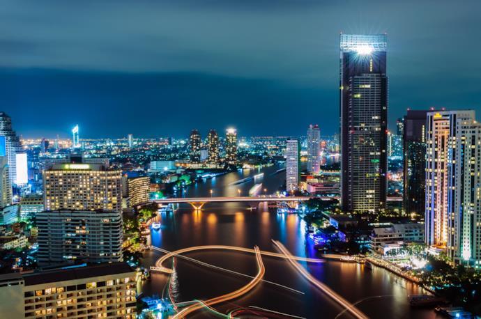 Skyscrapers and building in Bangkok at night