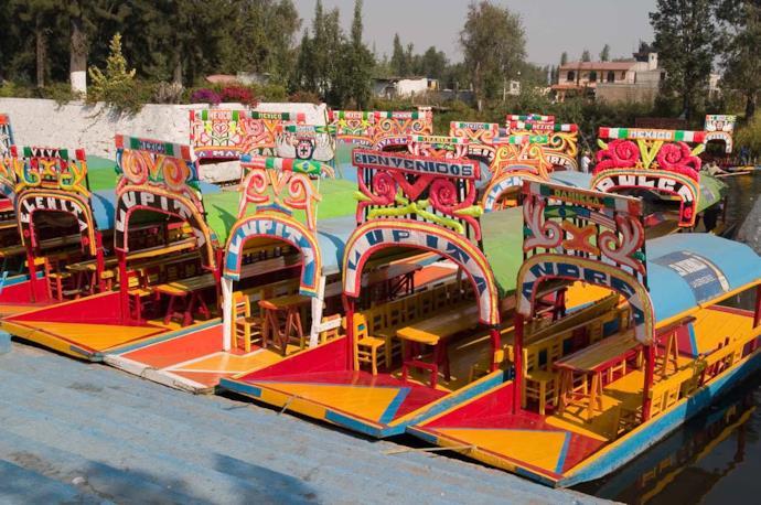 Boats in Xochimilco, district of Mexico City