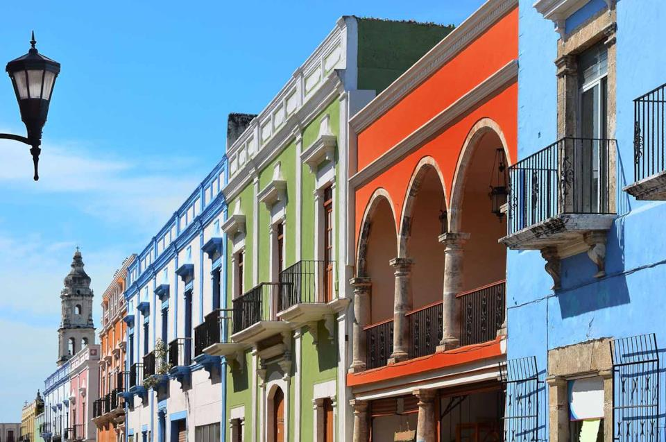 Colorful houses in Campeche, Mexico