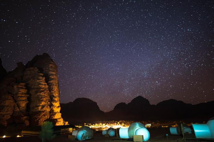 Night in a Wadi Rum camp, Jordan