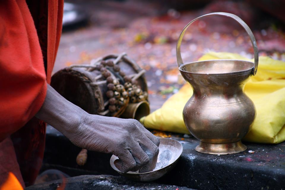 Indian holy man during ritual