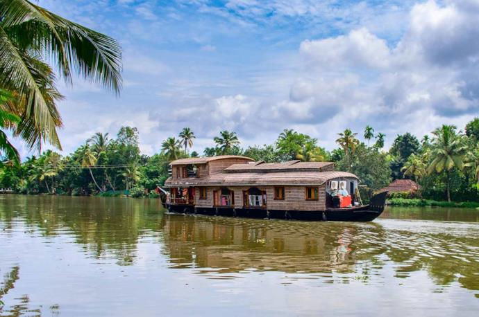 Traditional houseboat in Alleppey