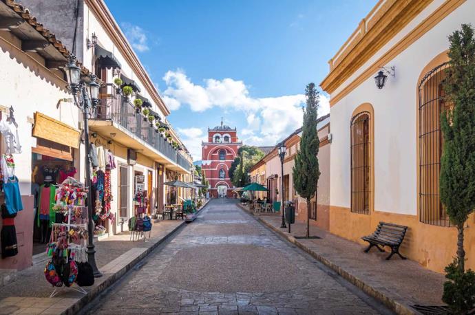 Street in San Cristobal de las Casas in Mexico