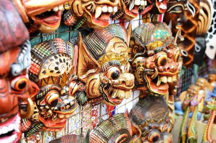 Masks at Ubud market, Bali, Indonesia