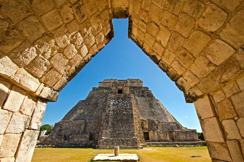 Entry to Uxmal pyramid in Mexico