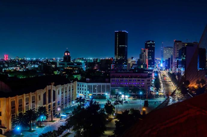 Mexico City during the night