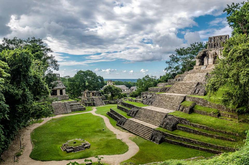 Palenque Mayan pyramid in Mexico