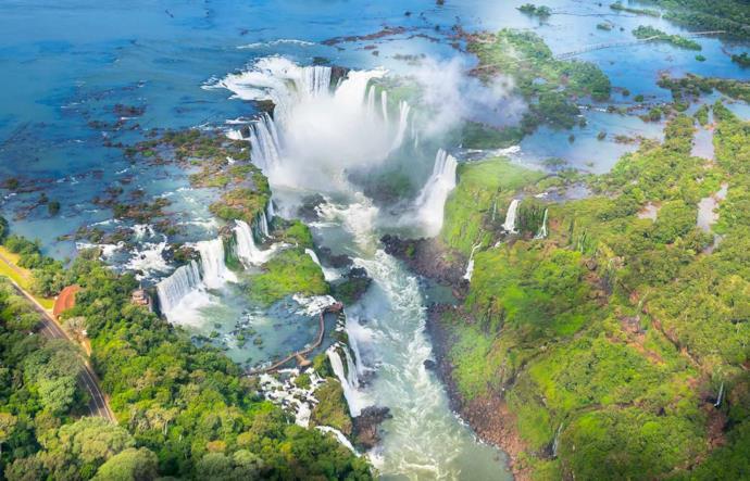 View of Iguassu Falls in Brazil