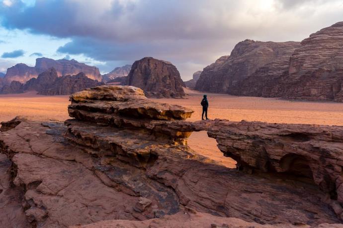 Man in Wadi Rum desert, Jordan