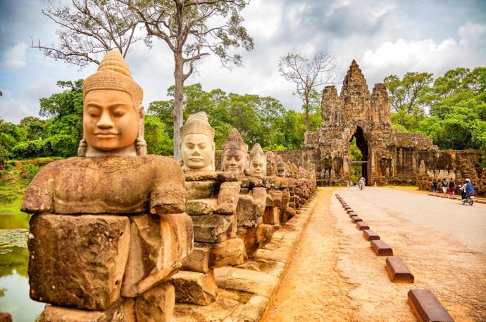 Statues of Angkor Thom in Siem Reap, Cambodia