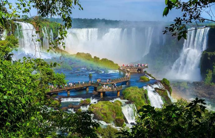 Tourists visiting Iguassu Falls, Brazil