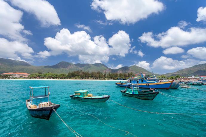 Boats in Con Dao island
